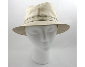Vintage 1980s tan bucket hat, brown band, 100% cotton, size M, Paris Accessories, fishing, outdoor, fisherman, crushable, hiker, air holes