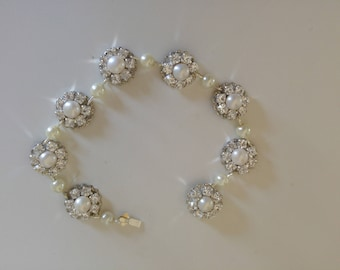 Bridal Pearls Bracelet Silver Crystals Bracelet Swarovski Rhinestone Wedding Jewelry Pearls And Rhinestone Bracelet,Vintage Style Wedding