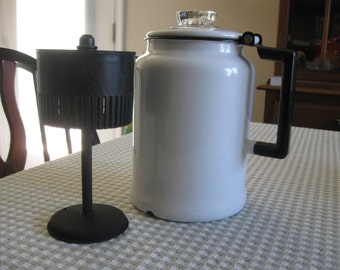 Vintage White Enamel Coffee Pot, Black Trim, Hinged Top, Glass Bulb, Inner Basket