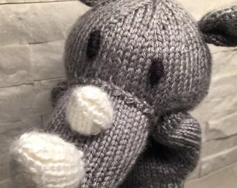 Knit rhino puppet, knit hand puppet rhino, knit glove puppet, knit puppet rhino, plush rhino puppet, rhino plush toy, glove puppet rhino