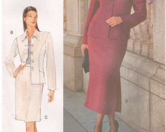 1998 - Vogue 9932 Sewing Pattern Sizes 14W/16W/18W Mode Magazine Collection Easy Petite Jacket Skirt Suit Fitted Princess Seams Uncut