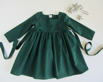Custom Hunter Green Christmas Dress size 12 months, 18 mos, 2, 3, 4, 5, 6, 7, 8, 10 and 12  Other Colors Available