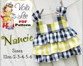 Nancie, Girls Top Pattern, Toddler Shirt Pattern pdf, Girl's Sewing Pattern,pdf. Toddler Dress Pattern, Shirt Patterns, Girls Ruffled Tops.