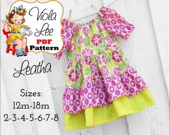 Leatha, Girls Dresses, Toddler Dresses, Girl's Peasant Dress Pattern. Girl's Sewing Pattern, Toddler pdf Sewing Patterns, Baby Pattern.