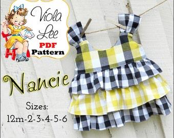 Nancie Girls Shirt Patterns, Toddler Top Patterns, Toddler Sewing Patterns. Girls Sewing Patterns. Baby Sewing Patterns, pdf Sewing Patterns