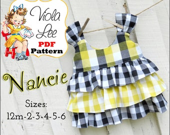 Nancie, Girls Top Pattern, Toddler Shirt Pattern pdf, Girl's Sewing Pattern,pdf. Toddler Dress Pattern, Shirt Patterns, Girls Ruffled Tops.