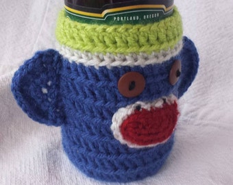 Seahawk theme Sock Monkey Beer Soda Bottle Cozy Lime Green Blue