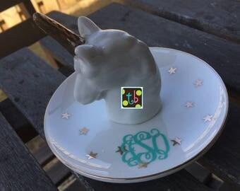 SALE!! Personalized Monogram Unicorn Flamingo Jewelry Holder