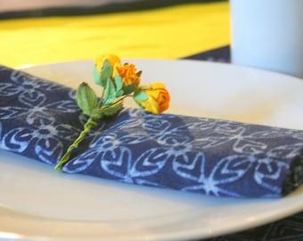 Cloth Napkins In Natural Indigo Batik Cotton, Choice Of 3 Hand Stamped Patterns