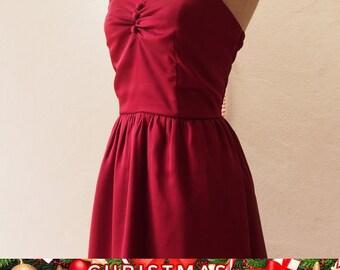 Christmas SALE Christmas Dress Red Wine Dress Burgundy Dress Vintage Inspired Blood Red Party Prom Dress Evening dress Burgundy bridesmai...