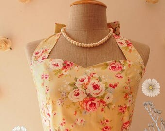 Clearance SALE SALE Floral Dress Yellow Green Floral Tea Dress Cotton Dress Halter Dress Vintage Floral Party Dress Wedding Dress -Size S