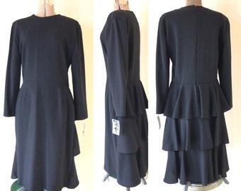 Vintage 80s Peplum Dress Black Anne Klein Tiered Wool Nordstrom size 12