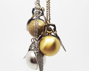 Harry Potter GOLDEN SNITCH Quidditch Antique Bronze or Silver Pocket Watch Pendant Necklace Working Quartz Watch