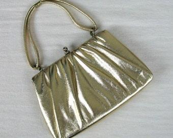 Vintage 1950s Shiny Gold Metallic Handbag 50s Evening Bag with Strap