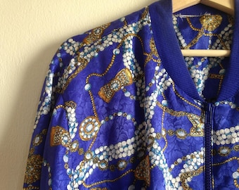 Pearl and Gold Jewel Blue Vintage Windbreaker with Pockets