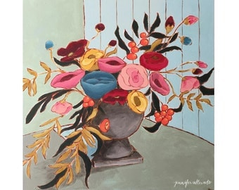 Abstract floral still life painting original flower art - Memories of a Tuscan Table