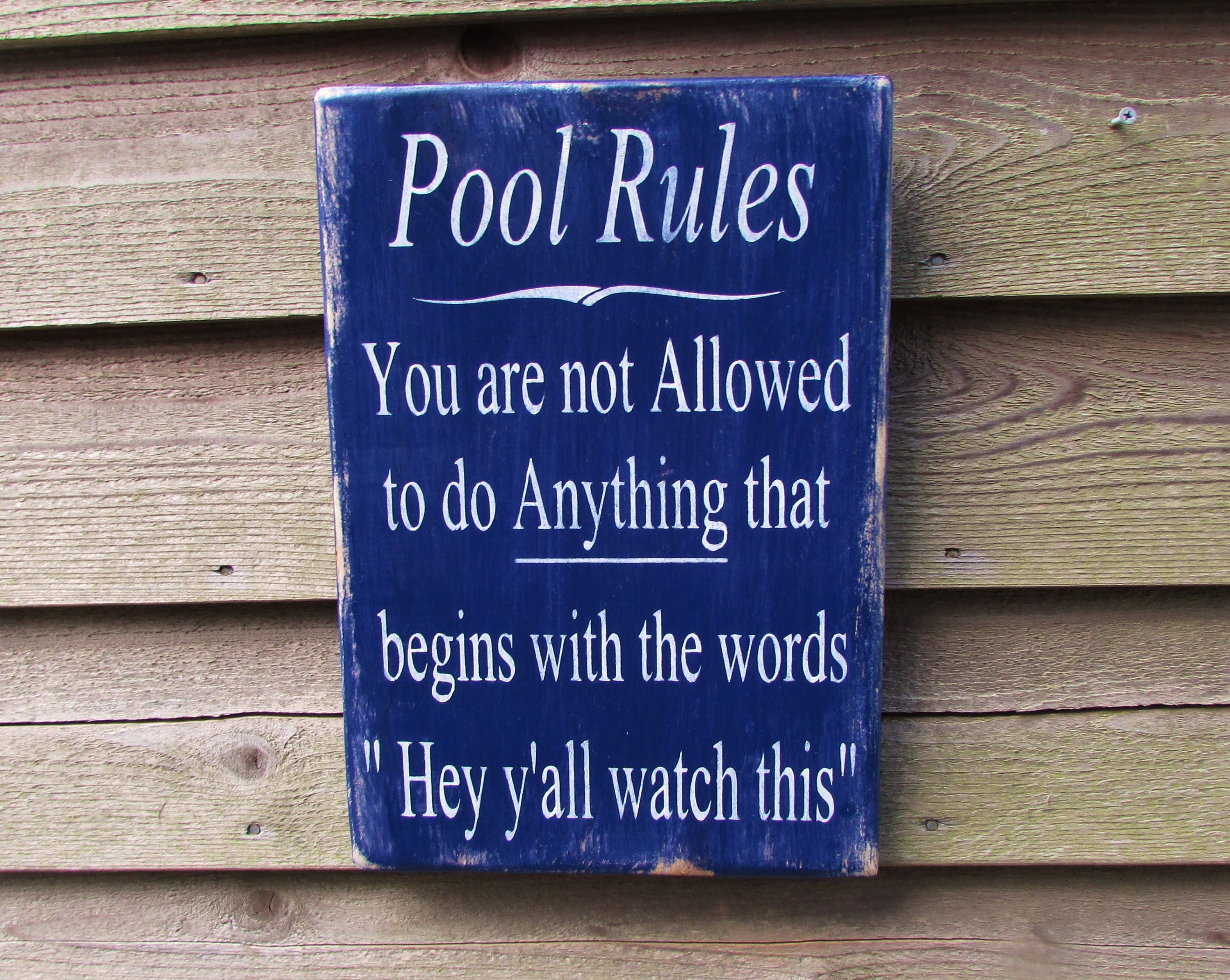 Hand painted wood sign pool rules sign pool sign primitive for Outdoor decorative signs