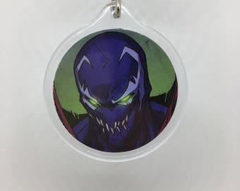 Upcycled Comic Book Keychain Featuring - Spawn