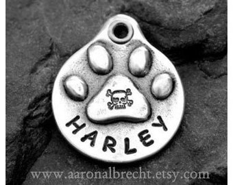 Dog Tag for Dog Pet Tag Dog ID Tag Handmade Personalized Paw Print with Skull