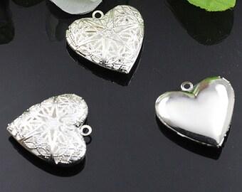 5pcs 27mm silver plated brass filigree heart photo locket DIY pendant charm supplies 1132001