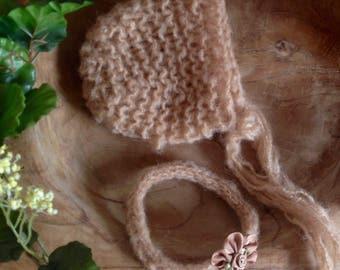 Newborn bonnet and headband set soft brown mohair hand knit photo prop