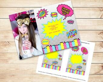 Girl Superhero Invitation - Comicbook Invitation - Girl Superhero Party - PRINTABLE Digital File Invitation Download - Thank You Card
