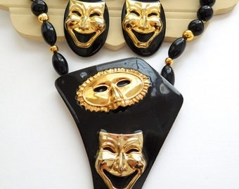 Vintage Mardi Gras Theater Mask Black Gold Statement Necklace Earrings Set D25