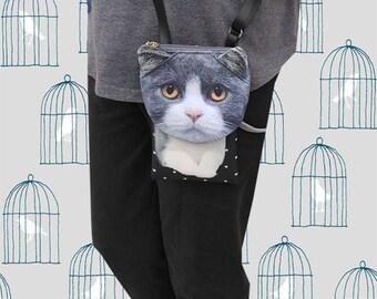 Cat, cross body phone case, cat bag, cat smartphone pouch, iPhone 4s pouch, iPhone 5 or 6 pouch, Note 3 pouch, cat purse, PH 1176