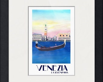 Venice Italy Gondola on Grand Canal with San Marco - Retro Poster