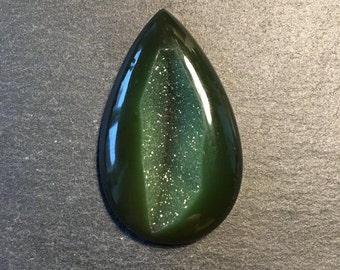 Green Druzy Agate flat back cabochon - stone for bezel - stone for jewelry making      Item #17-010304