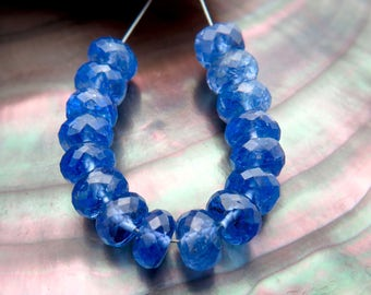16pc Rare High Gem Grade AAAAA Faceted Rondelle Blue Purple Tanzanite Gem 5.3-5.7mm Beads 15.6cts