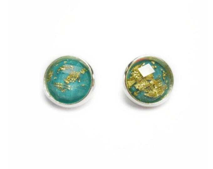 Teal earrings, teal bridesmaid jewelry, teal wedding, bridesmaid gift, bridesmaid jewelry, bridesmaid earrings, gold leaf earring, 12 mm