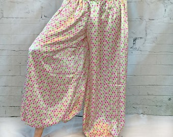 Green and pink polka dots on white satin belly dance harem pants bloomers pantaloons tribal renaissance