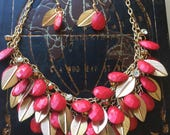 Red and gold necklace & Earring Set- bridesmaids, bridal, and special occasion
