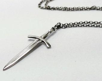 Sterling Silver Medieval Sword Dagger Pendant Necklace