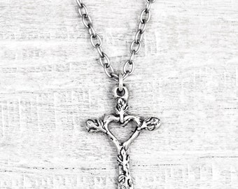 Love And Faith Necklace - Cross Necklace - Faith Jewelry - Cross Jewelry - Religious Necklace -  N719