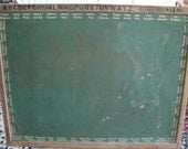 Reserved for Heather Rare Vintage Large Chalkboard With Alphabet Numbers and State Capitals // Wood Framed
