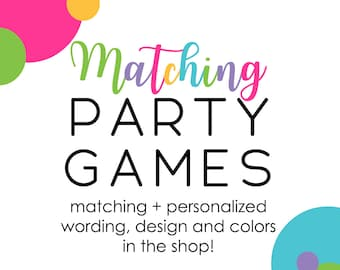 Matching Party Games Baby Shower Printable Activity Made to Match Custom Bingo Price Right Scramble Wishes Advice Celeb Match Handbag Hunt