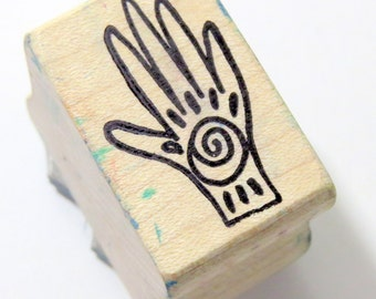 Hand of Love Rubber Stamp, Used Vintage, Healing Hand, Ancient Wisdom, Metaphysical, Shamans