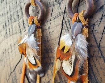 Funky Leather Fringe Wooden Hoop Feather Earrings