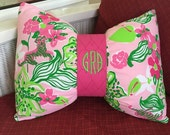 Bow Pillows Dorm Decor Sorority Monogrammed Custom
