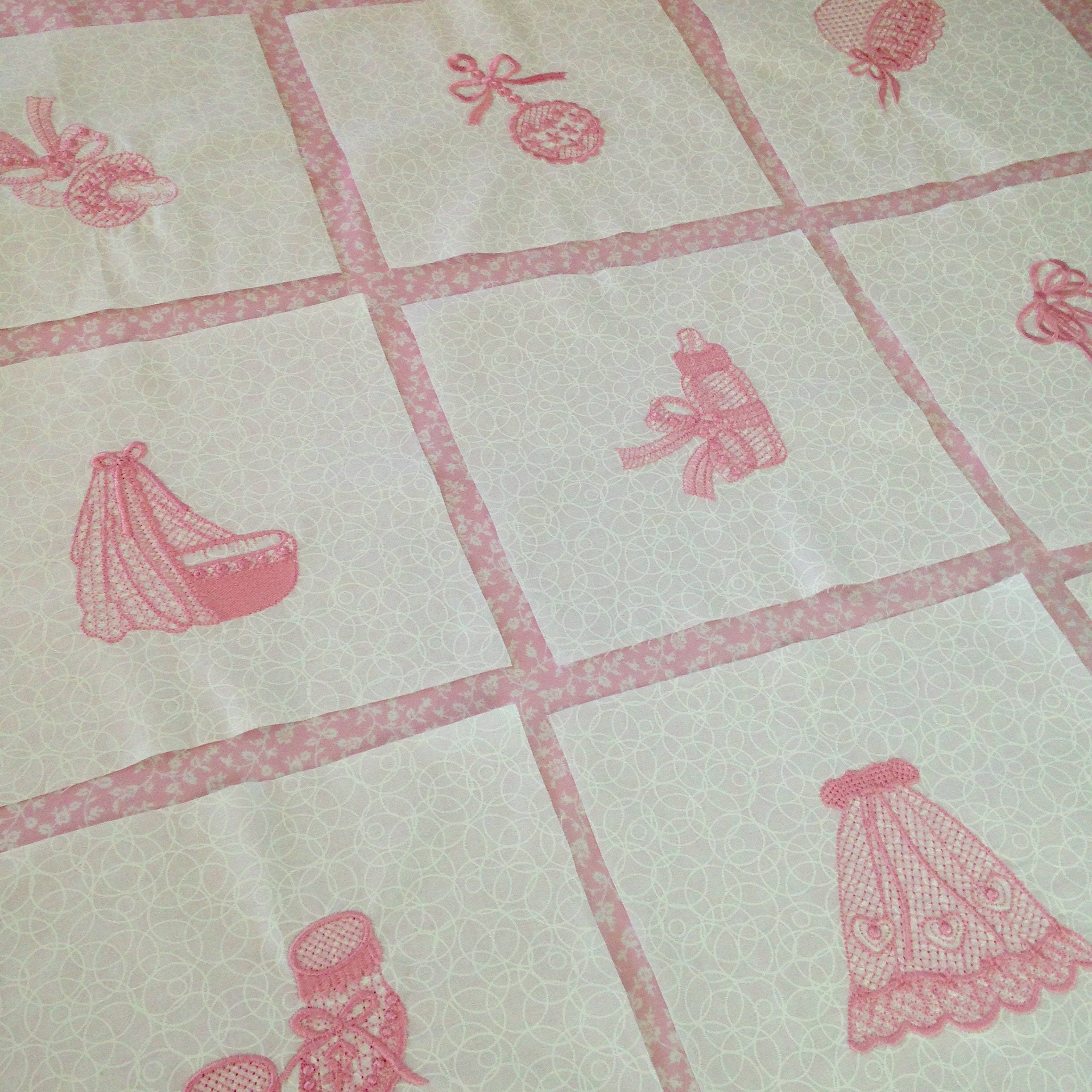 Quilt blocks embroidered pink baby top girl