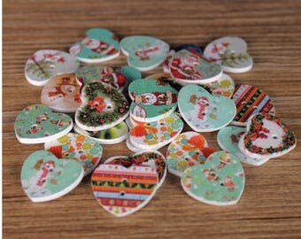 """30 PC Painted wood buttons 24mm - Wooden Buttons ,buttons, natural wood buttons """"Christmas heart"""" A119"""