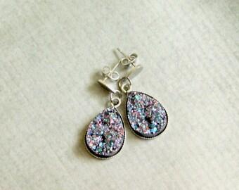 Metallic Druzy Drop Earrings : Steel Post Faux Stone Jewelry