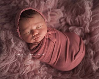 Dusty Rose Stretch Knit wrap with matching bonnet newborn photography prop