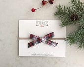 Christmas Bow - plaid bow nylon headband or hair clip