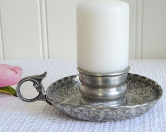 Chamber candle holder, vintage Norwegian pewter parlour candlestick, bedside candle stick, rustic home decor