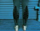 Evergreen Tree Leggings Womens Forest Green / Fair labour clothing / Hand printed west coast