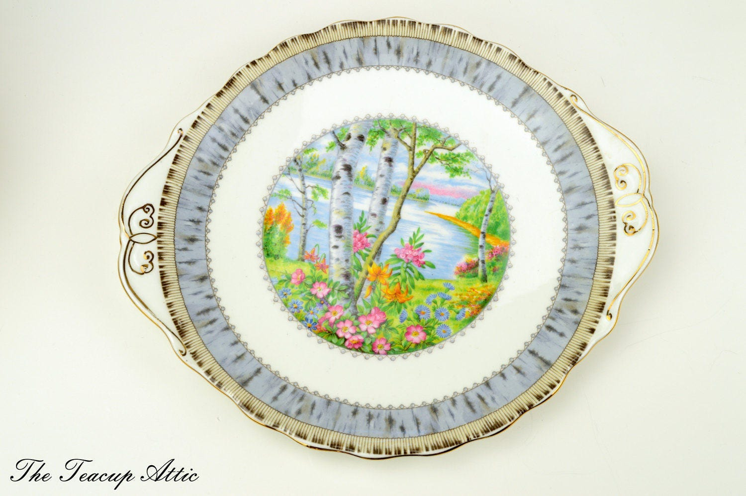 ON SALE Royal Albert Silver Birch Cake Plate, English Bone China Cookie Plate, Dessert Plate, Tea Party, ca 1940