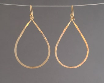 Gold Hammered Teardrop Hoop Earrings